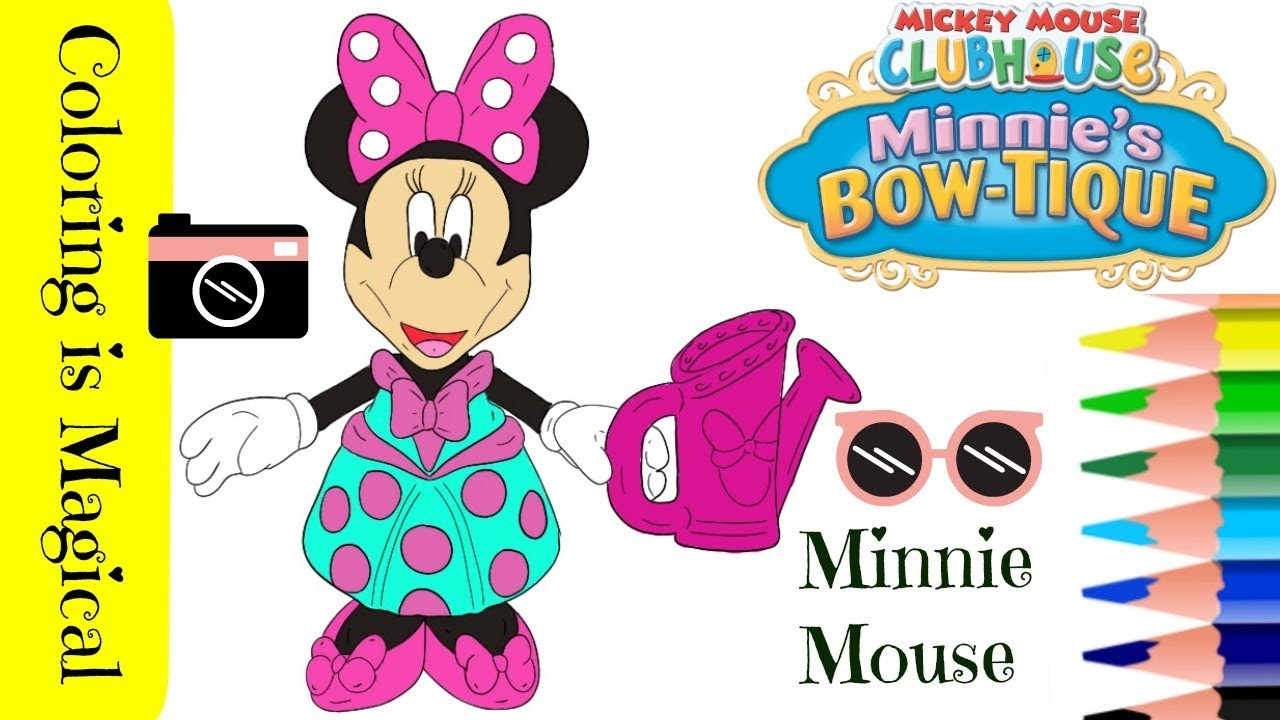 Minnie Mouse With Watering Can Bow Tique Coloring Page Video Disney