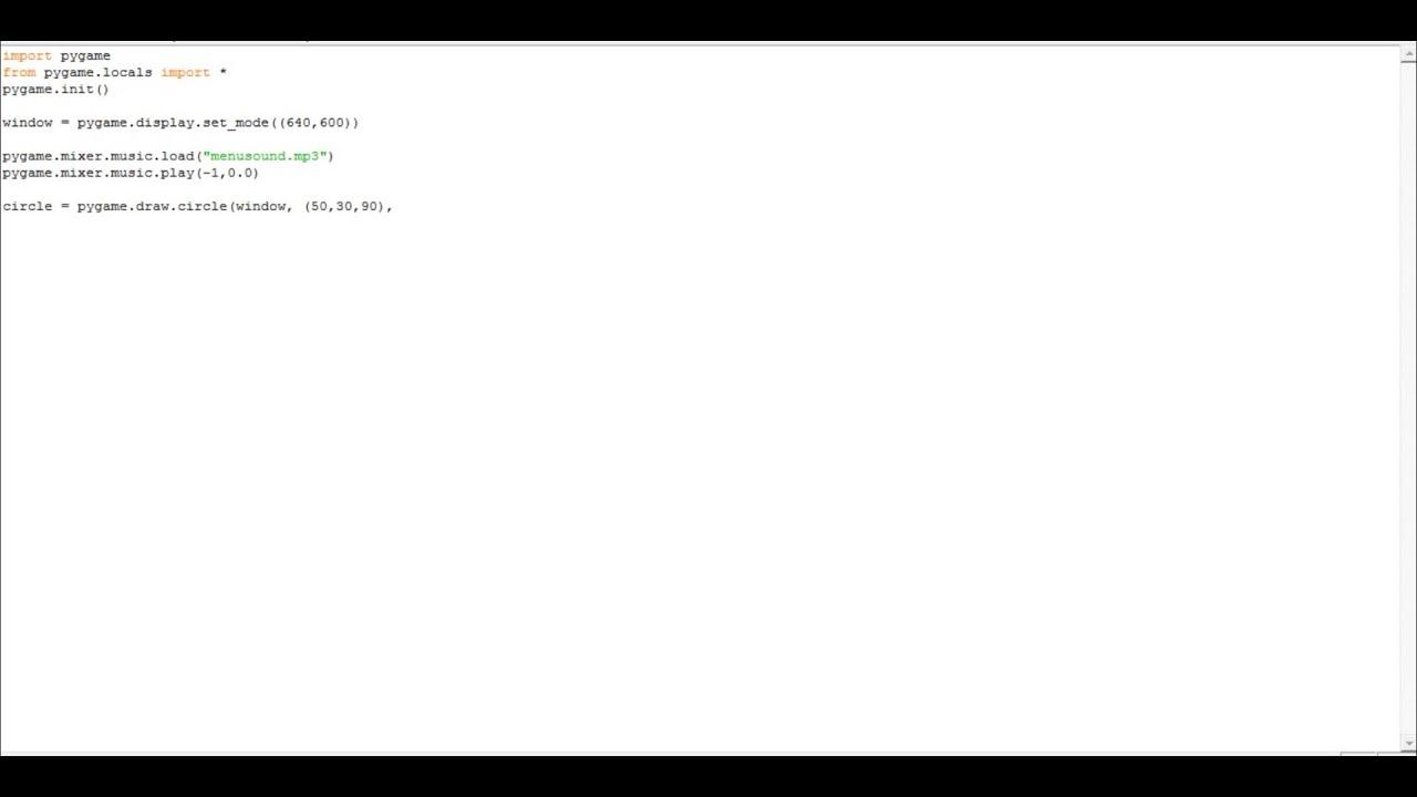 Pygame tutorial-7- Inserting music