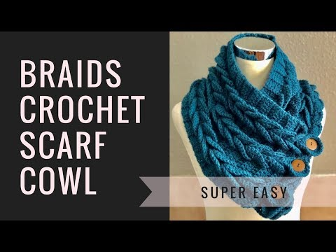 Braids Crochet Scarf Cowl - Easy Perfect for Beginners