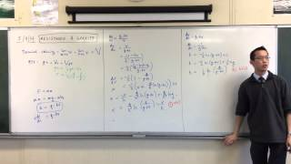 Vertical Resistance & Gravity example question (2 of 2: Proving Final Result)
