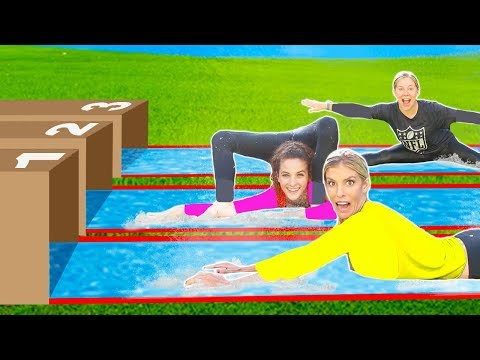 TRY NOT TO FALL on the BACKYARD WATER SLiDE with Sofie Dossi and Shawn Johnson
