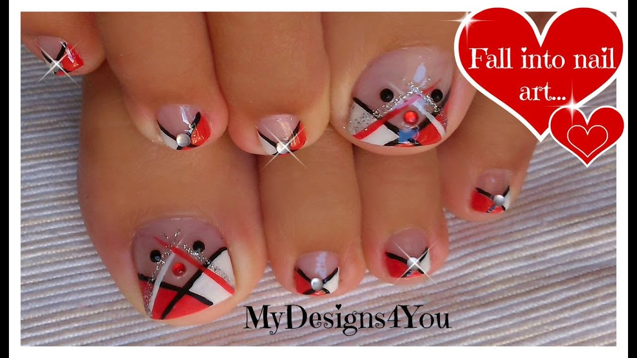 Abstract Toenail Art | Red, Black and White Pedicure ♥ Diseño de ...