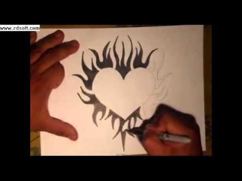Como Desenhar Uma Tattoo De Coracao By Wizard Youtube