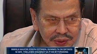 Erap, bumwelta sa batikos ni Trillanes kaugnay sa P100M pondong inilaan ni Jinggoy sa Maynila