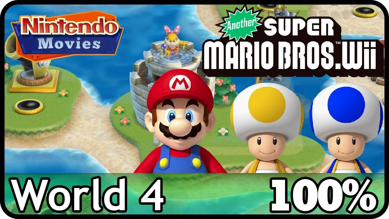 Another New Super Mario Bros Wii World 4 100 Multiplayer
