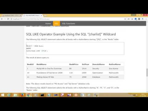 SQL WILDCARD Characters