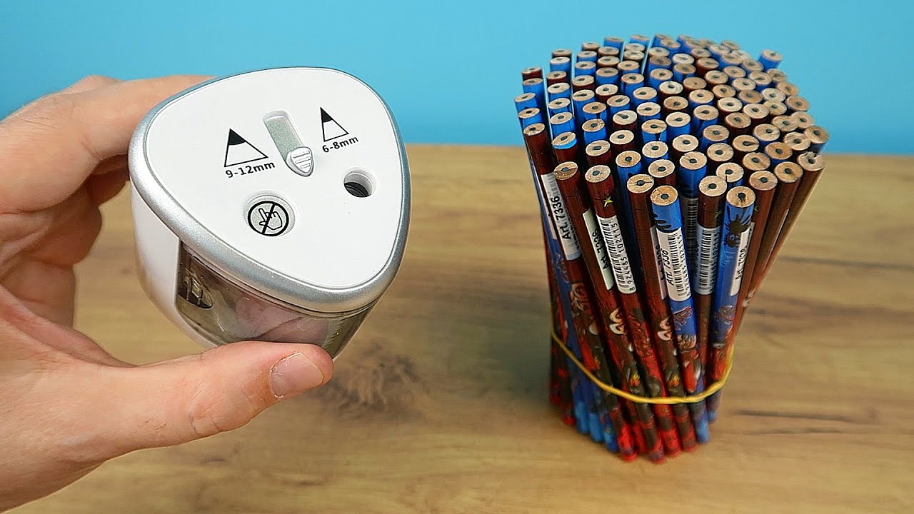 Сколько карандашей заточит китайская электроточилка за 1 минуту? Электро точилка с Алиэкспресс!