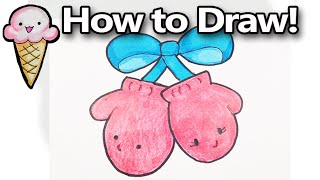 How to Draw Cute Cartoon Mittens Step by Step Easy for Beginners - Kawaii!