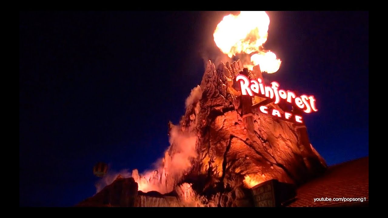 Erupting Volcano And Lava Lounge At Rainforest Cafe At