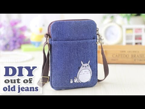 DIY JEANS PURSE BAG // Cute Pouch Phone Money Bag // Old Jeans Recycle Idea