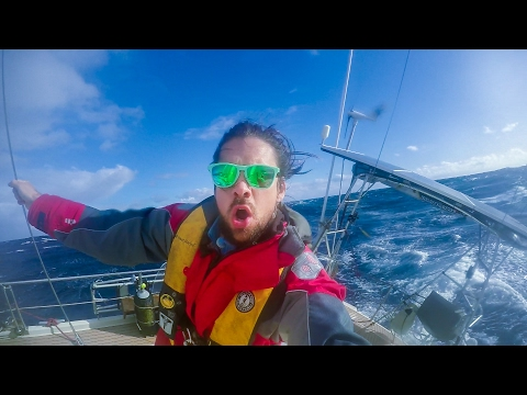 Sailing the Roaring 40s in 30 foot Waves!  Sailing SV Delos