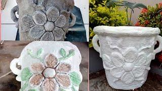 Diy como fazer vaso de tecido com cimento com alça e flores(arte em cimento)