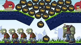Angry Birds Fry Zombies - TERENCE FORCE ALL TNT TO BURN ZOMBIES!