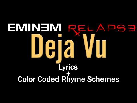 Eminem - Deja Vu - [Lyric Video & Colored Rhyme Scheme]