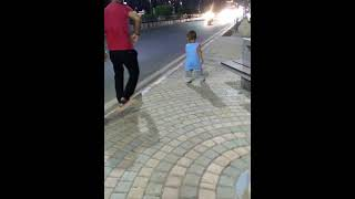 Nishant roaming & playing on the footpath with his Father | Kids random Clicks | Keya the cute baby