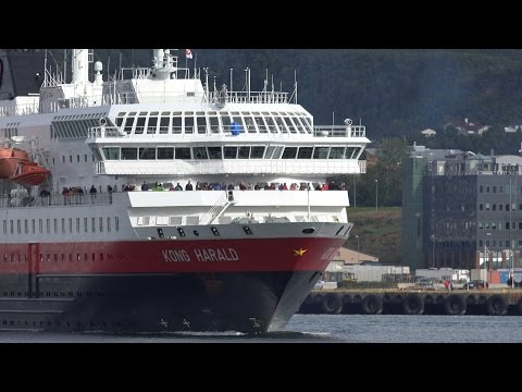 Hurtigruten visiting Bodø en route to Lofoten, Norway 4K Quality.
