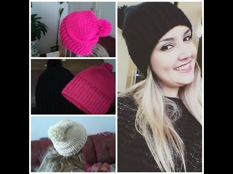 7243a25608e8d DIY TOUCA DE CROCHÊ COM POM POM - YouTube
