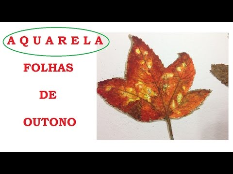 Folha de Outono -  Aquarela #2 -  (Watercolor Autumn Leaf) - VIDEO