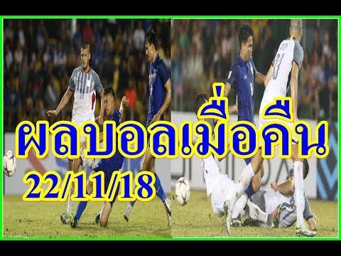 ผลบอลเมื่อคืน/ฟิลิปปินส์VSไทย,AFF/กระชับมิตร/(22/11/18)