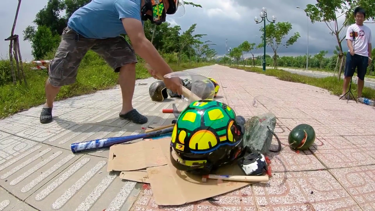 Đập nón, phá hủy AGV K3 SV Tartaruga Rùa   Testing AGV Helmet