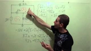 circuito de três malhas resolvido por análise de malhas