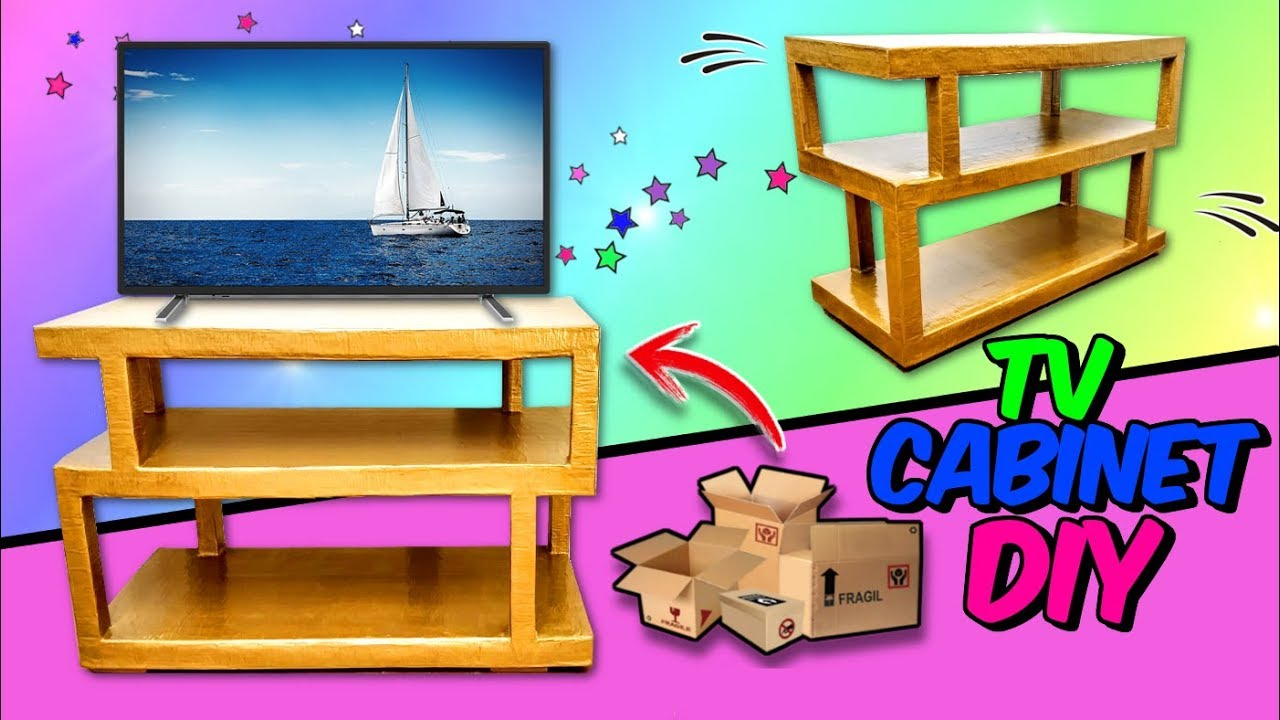 DIY TV CABINET with cardboard empty boxes - YouTube