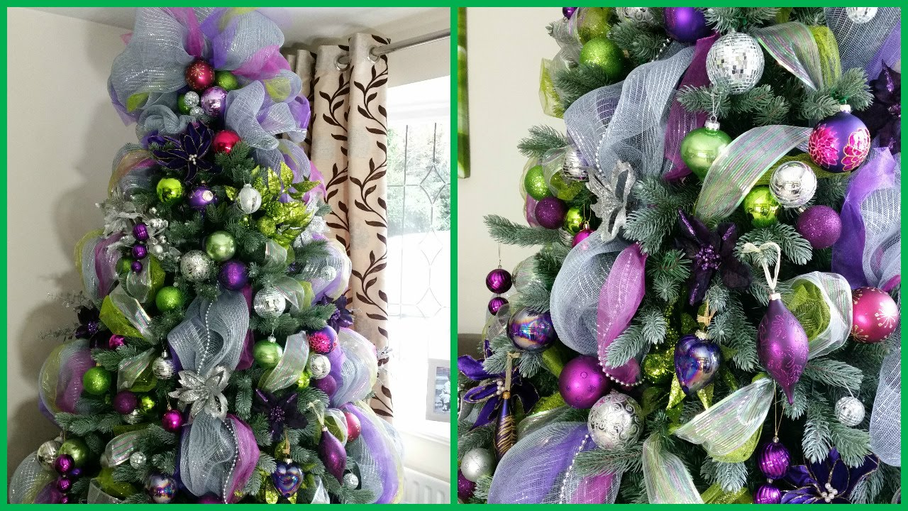 Christmas tree decorations purple and silver - How To Decorate A Christmas Tree With Deco Mesh Deck The Halls Pt 3 Youtube
