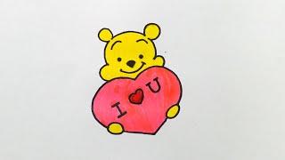 drawings valentines simple pooh drawing draw heart valentine winnie disney