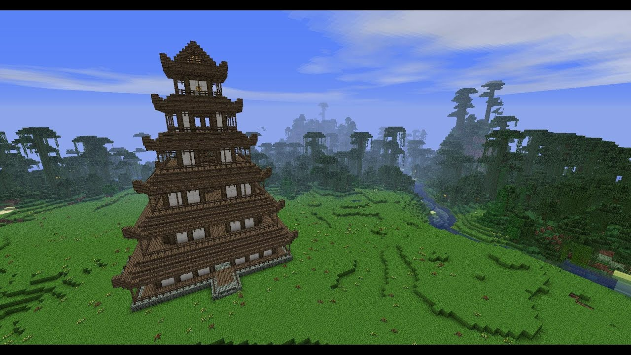 Minecraft Japanese Pagoda minecraft - japanese pagoda tutorial - part 2 - youtube