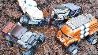 Monster Trucks in Mud Star Wars Solo Hot Wheels Kids Playing Muddy and Racing Razor Bikes!