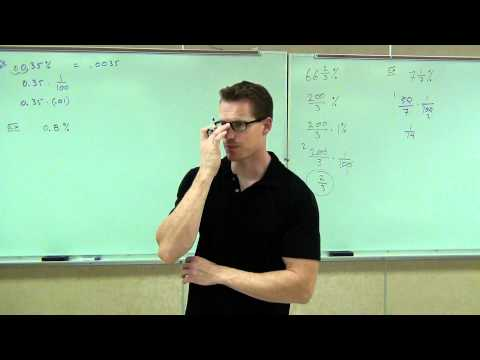 Prealgebra Lecture 7.1:  Introduction to Percent and Percentages