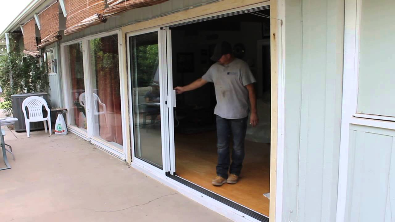 Slide right 3 panel stacking door youtube for Multiple sliding glass doors