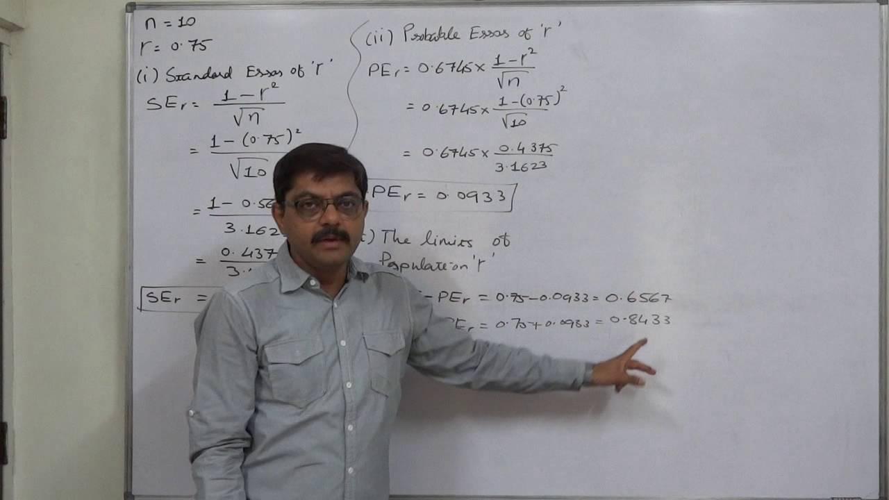 Linear Correlation 29 Calculation of Standard Error - Probable Error - Limits etc