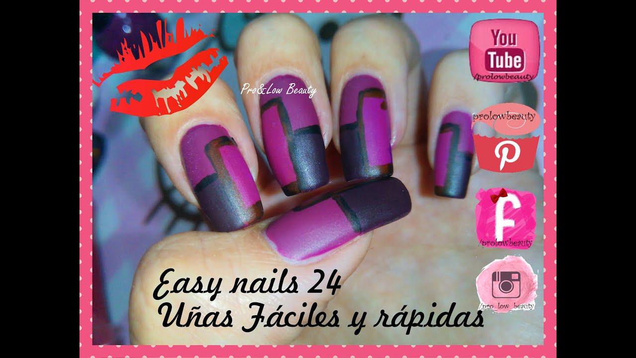 Uñas Fáciles y rápidas en morado mate N° 24/ Easy fast nails matte ...