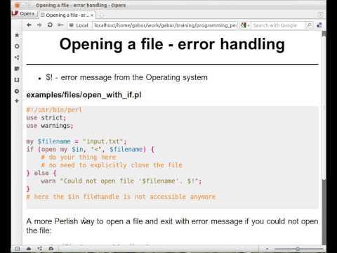 Beginner Perl Maven tutorial: 3.4 - Open file with error handling