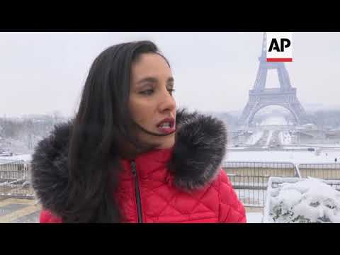 Heavy snowfall causes disruption in Paris