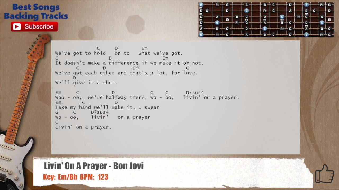Livin On A Prayer Bon Jovi Guitar Backing Track With Chords And
