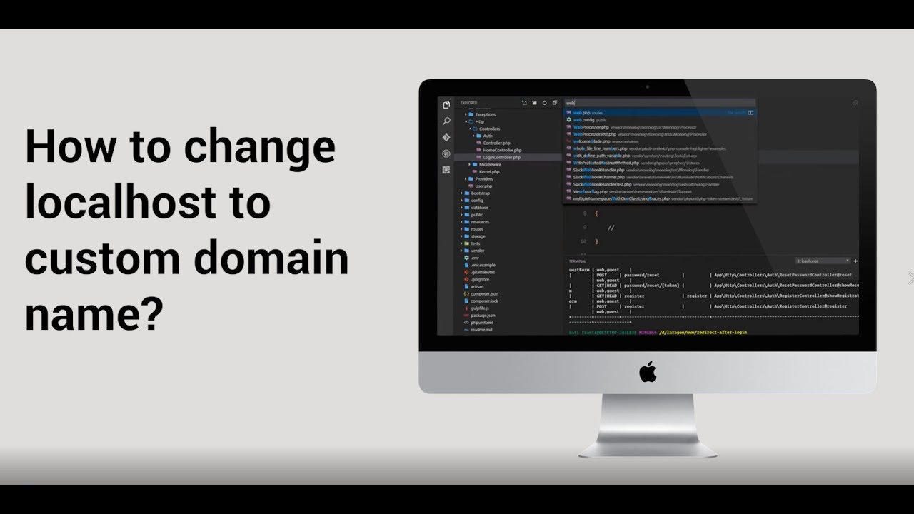 How to change localhost to custom domain name Laravel Project