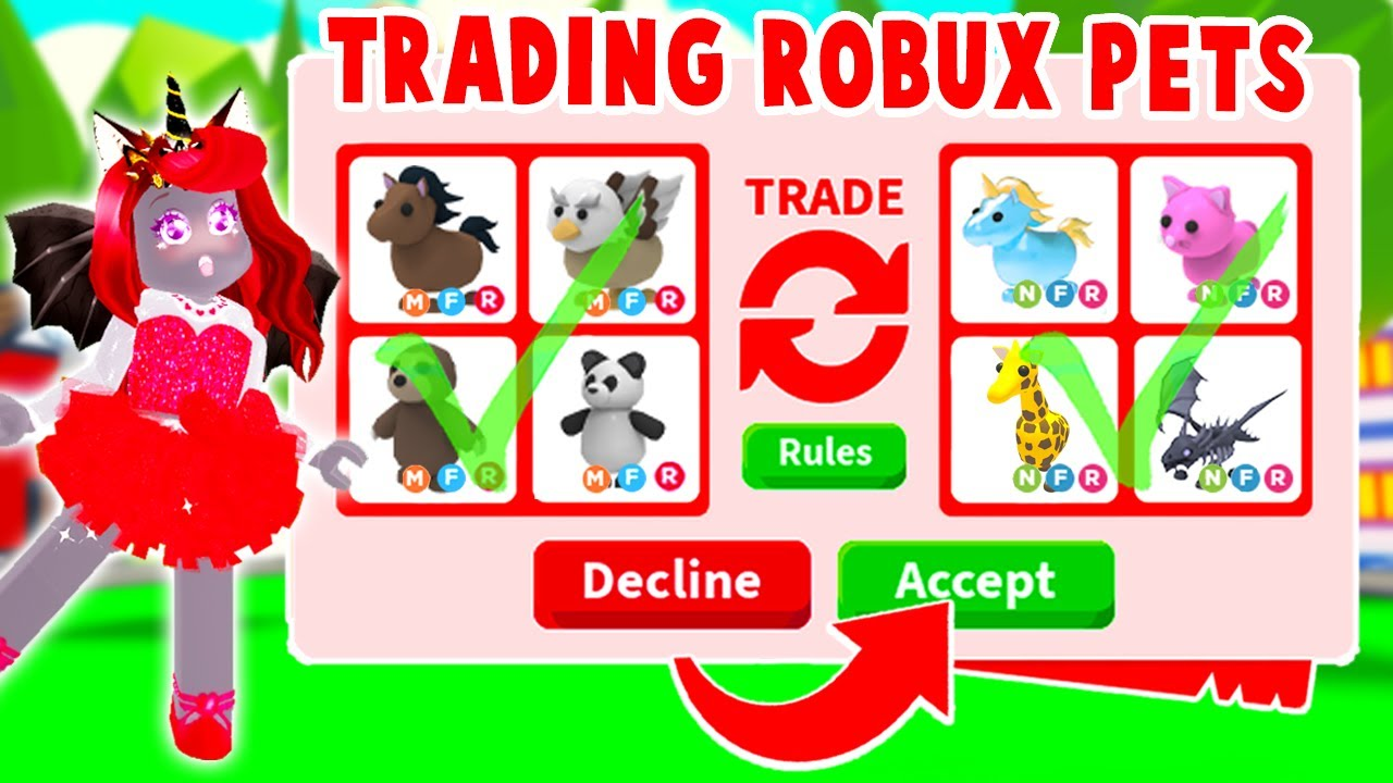 What Things Can You Get For Trading Robux Pets Only In Adopt Me Roblox Youtube
