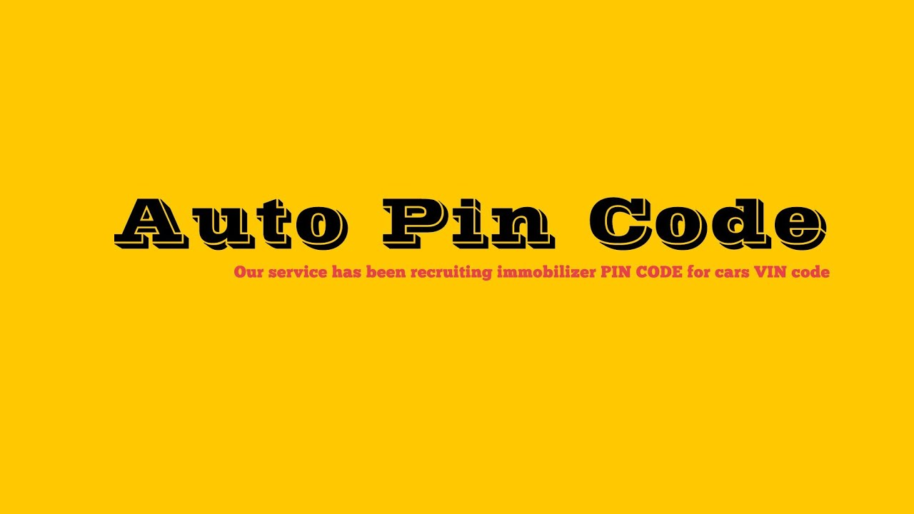 Auto pin code vin to pin