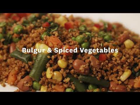 Thumbnail to launch Bulgur & Spiced Vegetables video