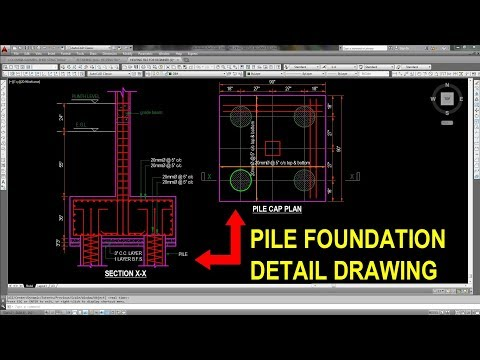 Pile Foundation Detail Drawing In Autocad Youtube