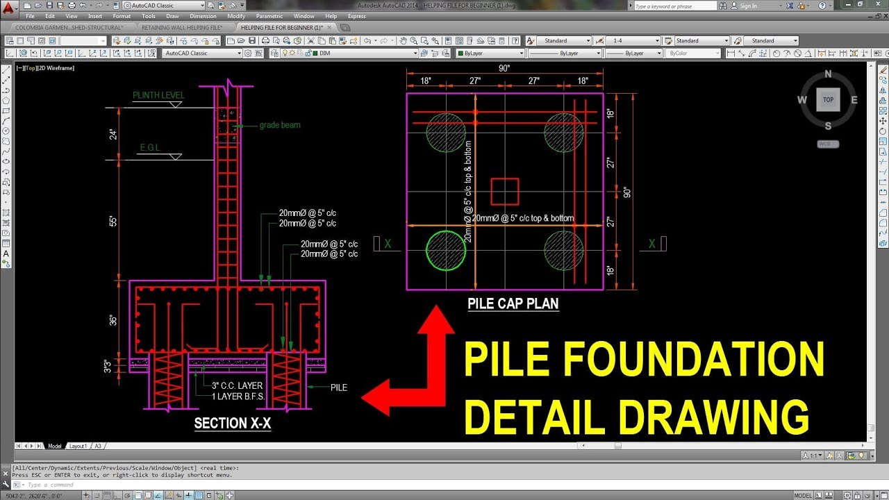 Pile foundation detail drawing in Autocad