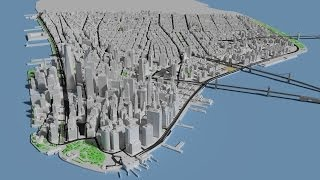Lower Manhattan 3D model animation in blender cycles