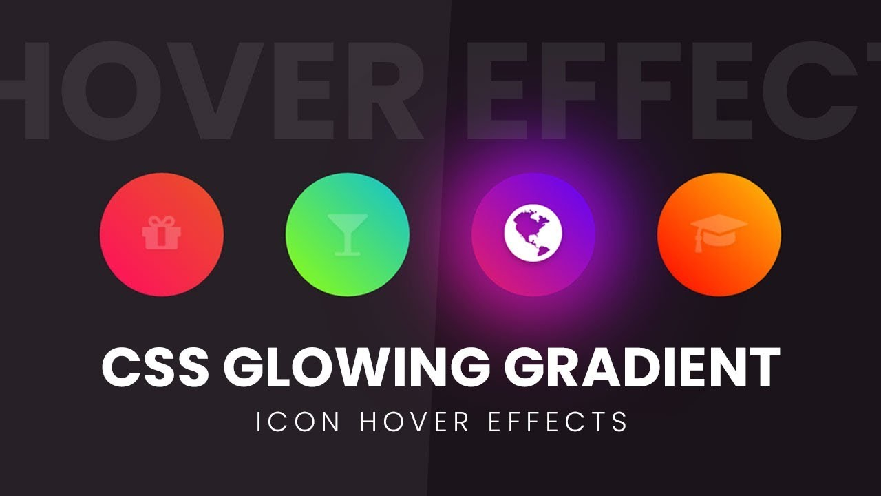 Glowing Gradient Icon Hover Effects | Html CSS and Fontawesome Icon