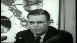 US Defense Secretary Robert McNamara addresses a news conference and reports on V...HD Stock Footage