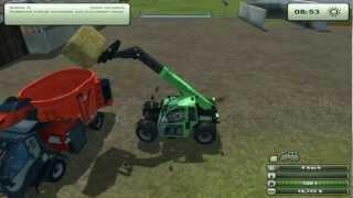Farming simulator 2013 PL (LS 2013)  - karmienie krów, feeding cows.