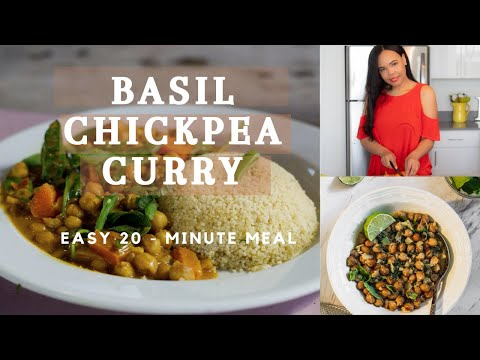 VEGAN BASIL CHICKPEA CURRY | Easy 20-minute Dinner