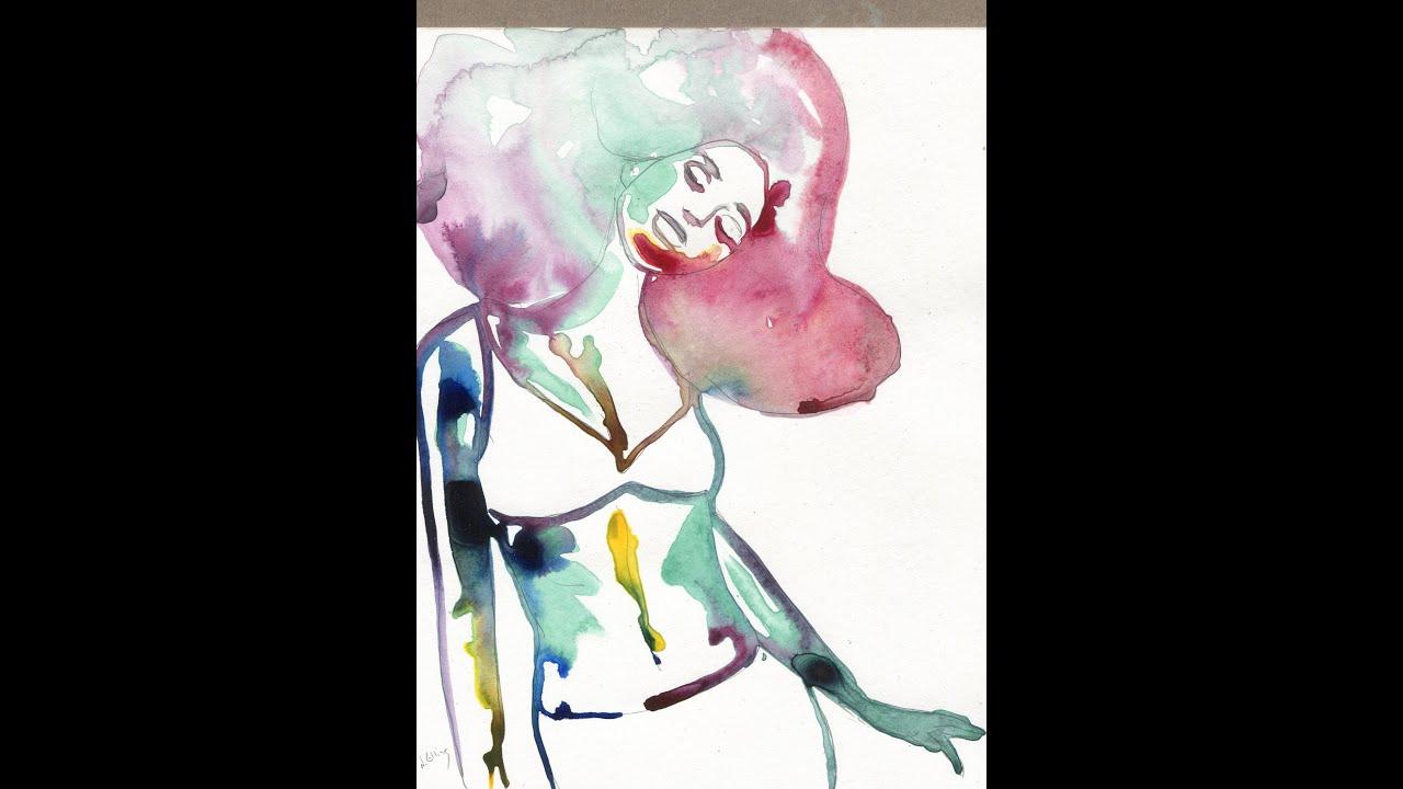Woman flowing hair easy watercolor ink painting - YouTube