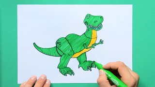 How to draw and color Rex from Toy Story